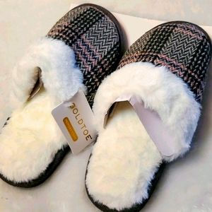 Gold Toe Plaid Slipper Faux Fur Collar S (6/7) NWT